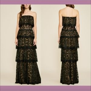 NEW Tadashi Shoji Moe Strapless Tiered Lace Gown